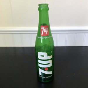 Vintage 7-Up Green Glass Bottle